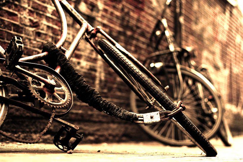 Sepia fietsen in binnenstad van Heleen van de Ven