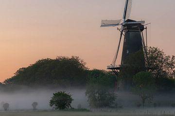 molen in de mist van Tania Perneel