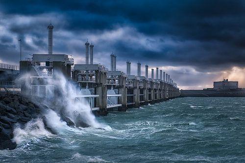 Storm bij Neeltje Jans van