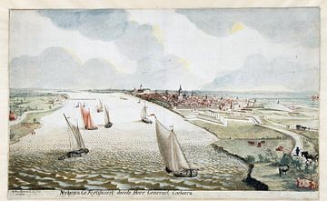 Martinus Berkenboom, Blick auf die Befestigungsanlagen bei Nimwegen an der Waal; um 1700