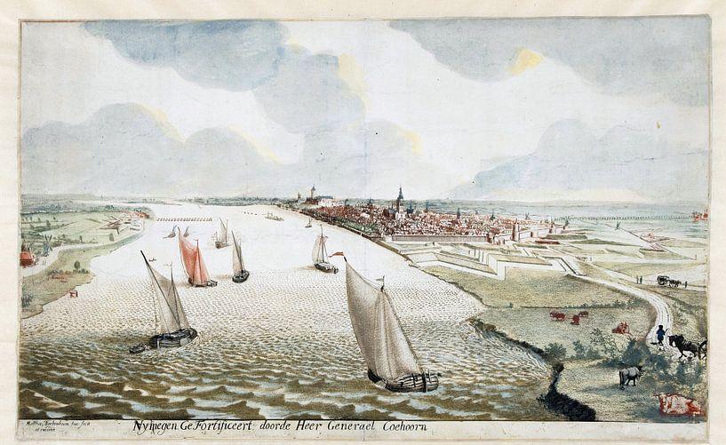 Martinus Berkenboom, Blick auf die Befestigungsanlagen bei Nimwegen an der Waal; um 1700 von Atelier Liesjes