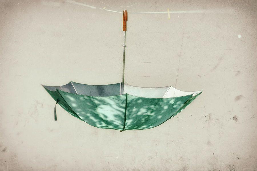 Paraplu aan de waslijn