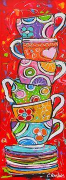 Vrolijke koffie/thee kopjes opgestapeld van Vrolijk Schilderij