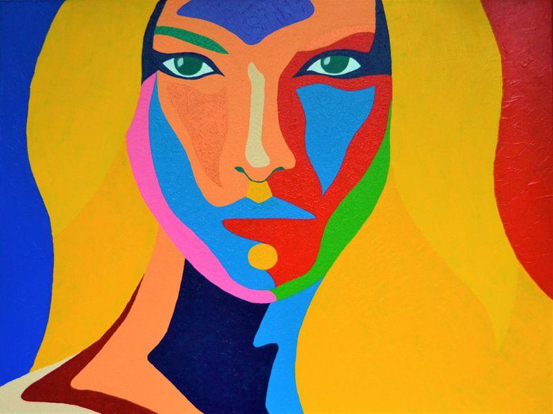 Madame 2, rood, blauw en geel van Freek van der Hoeve