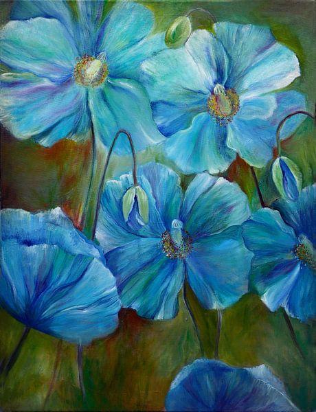 blauwe papavers ( schilderij) blue poppies van Els Fonteine
