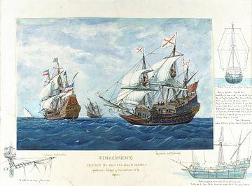 Rafael Monleón~Galleonen van zeventiende eeuw gebaseerd op Engels, schilderingen, tekeningen en besc