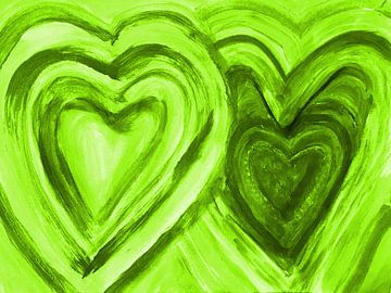 Zwei Herzen vereint - grün van Katrin Behr