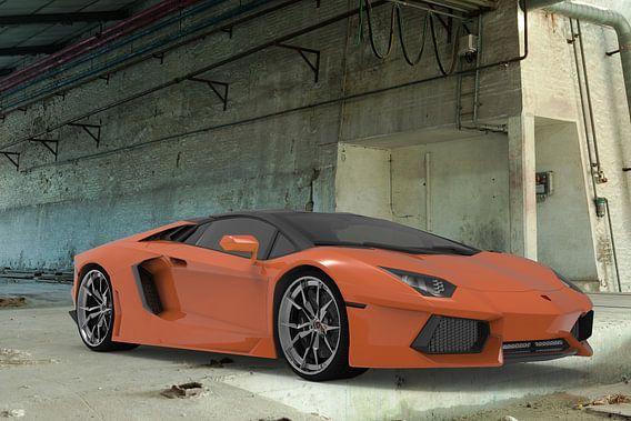 sport car orange front left building