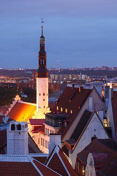 Ausblick vom Domberg auf die Unterstadt, Altstadt mit Heiliggeistkirche bei Abendd�mmerung, Tallinn, von Torsten Krüger
