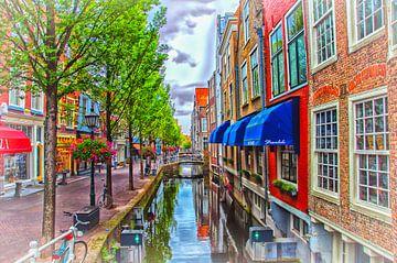 Farben am Kanal in Delft. von Nico van der Hout