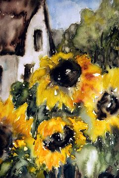 Sonnenblume mit Haus von Christine Nöhmeier