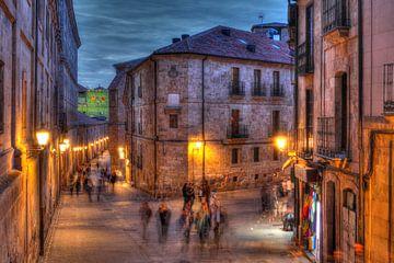 Altstadt, Abenddämmerung, Häuser, Straße, Salamanca, Spanien, Europa