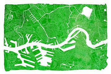 Rotterdam Stadskaart | Groen met witte kader