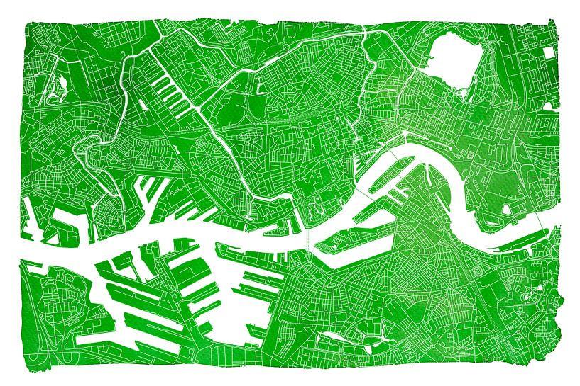 Rotterdam Stadskaart | Groen met witte kader van Wereldkaarten.Shop