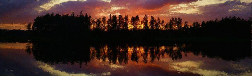 Zonsondergang in Noorwegen van Frans Jonker