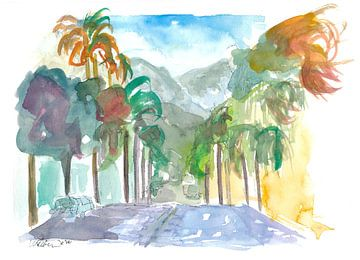 Santa Barbara Kalifornien Straßenszene mit Palmen von Markus Bleichner