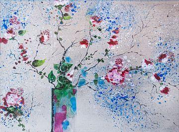 Kleine rote  Buschrosen von Klaus Heidecker