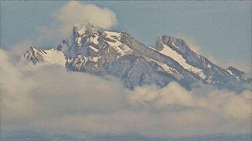 Bergtoppen boven de Wolken - Schilderij