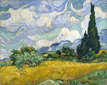 Weizenfeld mit Zypressen - Vincent van Gogh von Hollandse Meesters