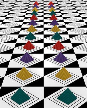 Abstraktes Muster mit bunten Pyramiden von Stefanie Keller