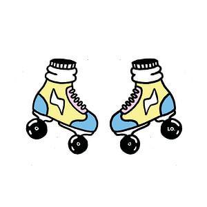 Pastelkleurige rollerskates