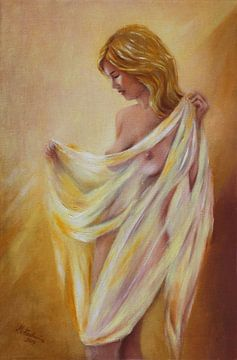 Naakt met een doek - erotische schilderij van