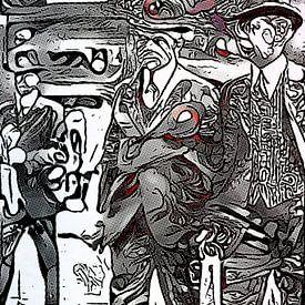 Twee mannen in gesprek van zam art