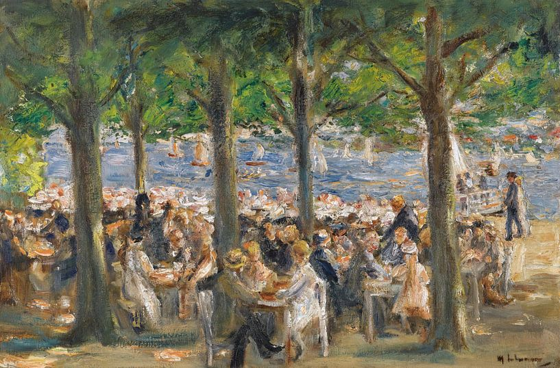 Tuinrestaurant aan de rivier de Havel onder de bomen, Max Liebermann van Meesterlijcke Meesters