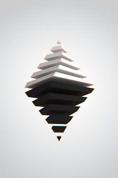 Zwart-witte piramides met dieptevervaging en chromatische aberraties van Jörg Hausmann