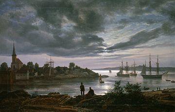 Larvik bei Mondschein, Johan Christian Dahl