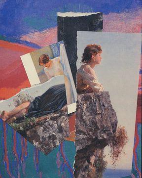 Collage van dames in blauw en roze van Nop Briex