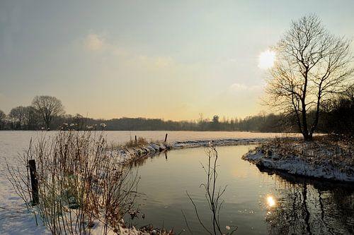 Rivier De Dommel met sneeuw van