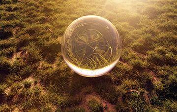 Glaskugel auf Grasfläche und im morgendlichen Sonnenschein von Besa Art