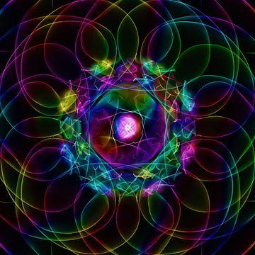Abstract meerkleurig neon licht van Maurice Dawson