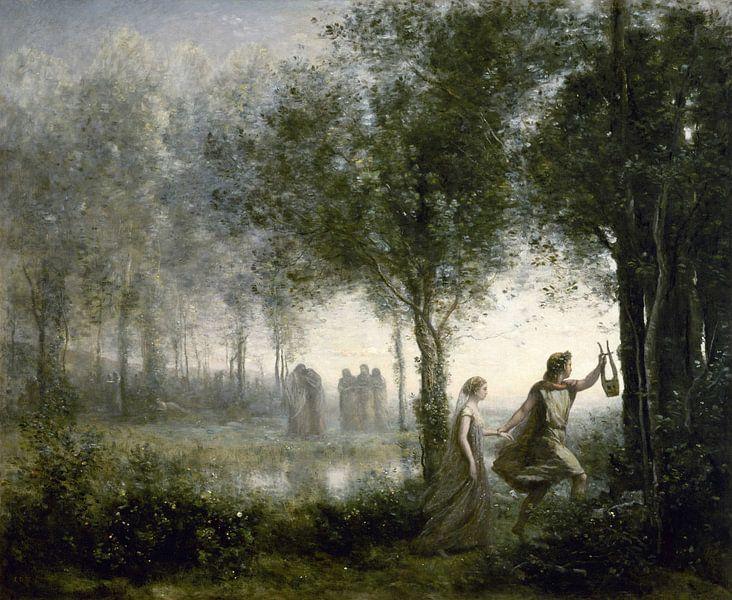 Orpheus führt Eurydike aus der Unterwelt, Jean-Baptiste-Camille Corot von Meesterlijcke Meesters