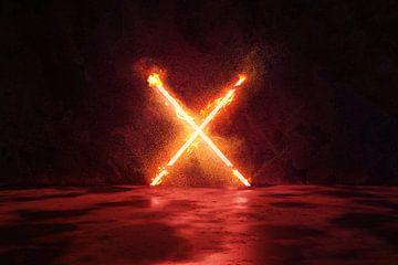 X Vorm in vuur en vlammen van Besa Art