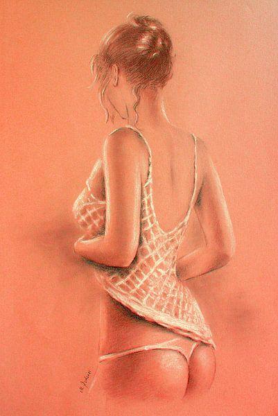 Sexy Girl in Dessous - Erotische Malerei Fotorealismus von Marita Zacharias