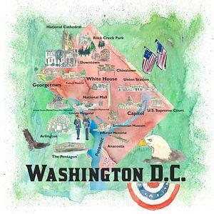 Washington DC USA Illustrierte Reiseposter Favoritenkarte Touristische Highlights von