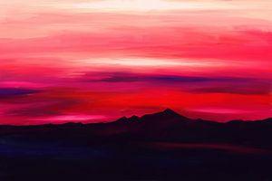 Expressief schilderij van een berglandschap van