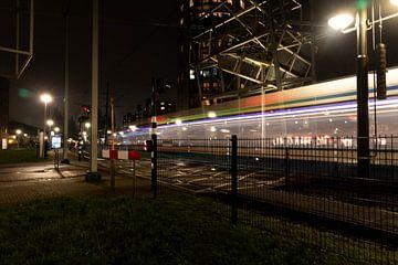 Light trail tram oversteekplaats
