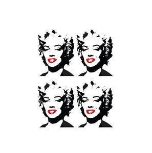 Marilyn Monroe Zeichnung schwarz-weiß mit roten Lippen