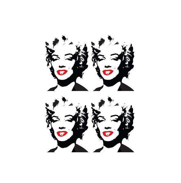 Marilyn Monroe Zeichnung schwarz-weiß mit roten Lippen von sarp demirel