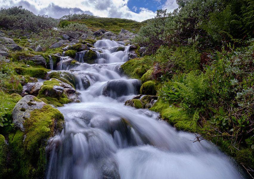 Een kleine waterval bij Heddersvatn van Koos de Wit