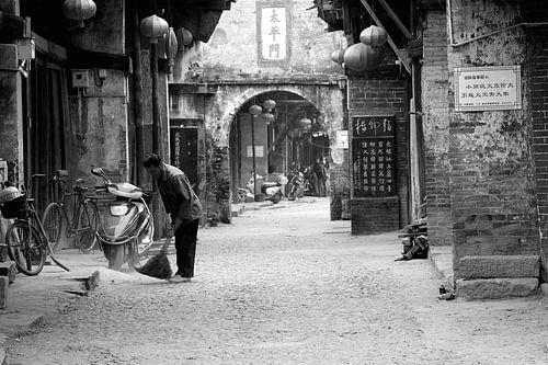 Rustiek dorpsgezicht in het antieke China