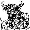 Schwarz-Weiß-Kunstwerk des schottischen Highlanders von Wanddecoratie Miniaturansicht