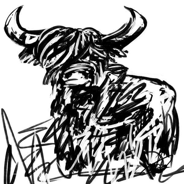 Schwarz-Weiß-Kunstwerk des schottischen Highlanders von Wanddecoratie