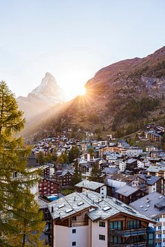 Zermatt et le Cervin au coucher du soleil sur Werner Dieterich