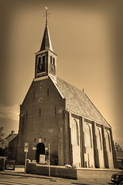 Egmond aan Zee Strand Kerk Sepia van Hendrik-Jan Kornelis