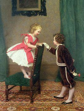 Flirt, der erste für Fräulein Lily, James Hayllar, 1867. von Atelier Liesjes