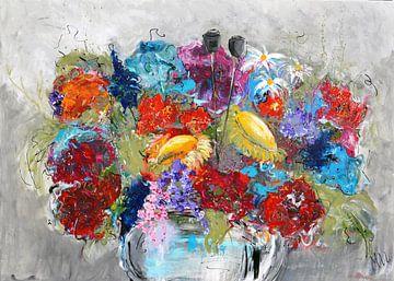 Vase avec des fleurs sur Kunstenares Mir Mirthe Kolkman van der Klip